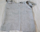 New price!!!  Navy and off white striped prewashed and soft linen half apron. Soft cafe apron.