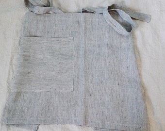 Navy and off white striped prewashed and soft linen half apron. Soft cafe apron.