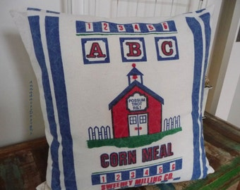 ABC Corn Meal Schoolhouse Pillow Cover - Reproduction Feedsack Style - Teachers Gift - Country Decor - Farmhouse Chic Pillow