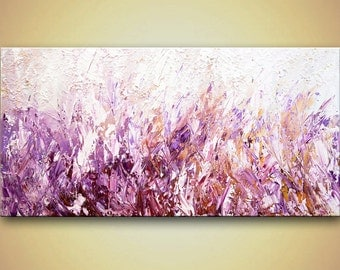 Huge Landscape Painting Spring Blossom Field of Lavender Flowers Textured abstract by Osnat 60x30