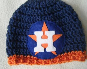 Crocheted Houston Inspired Baseball Beanie/Hat - MADE TO ORDER - Handmade by Me