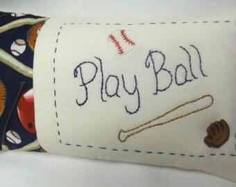 Baseball Play Ball Embroidered Mini PIllow Shelf Pillow