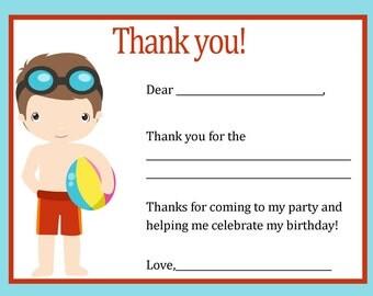 Thank You Card - Pool Party Boy Theme - Digital file - You print