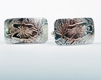 New for Fathers Days- Mens Polished Sterling silver Cufflinks - flower pattern