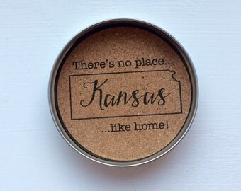 State Mason Jar Lid Coasters- Kansas, Set of Four