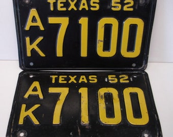 Texas License Plates Set 1952 Black and Yellow Plates Vintage Texas Plates Collectible Auto Plates