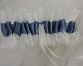 Wedding Garter Lace in Light Ivory and Blue Satin