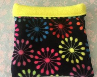 Neon Bursts Fleece with Yellow Fleece Snuggle Bag