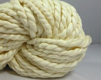 Silky soft  Mega bulky Optim merino  Natural undyed hand  spun yarn. Luxurious  super bulky 2 ply. Pure Australian merino wool.