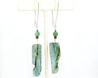 Kyanite Dangle - Rustic Drop Earring - Raw Organic Jewelry - Multistone Earring - Natural Stone Dangle - Beaded Drop Earring - Boho Beach