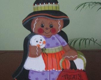 Witch, gingerbread, ghost, pumpkin, basket, halloween, shelf sitter, home decor