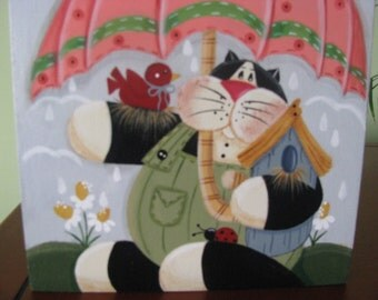 Cat,  Block, April showers, flowers, shelf sitter, spring,  handpainted, umbrella