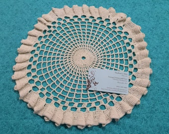 Vintage 13 inch Ivory Hand Crochet doily for housewares, home decor, pillows, christmas, holiday, bags by MarlenesAttic