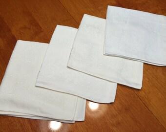 Set of 4 vintage Ivory Damask linen napkins  for home decor, picnic, dining, housewares by MarlenesAttic