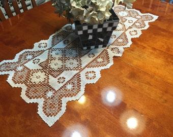 Table Runner, Vintage White Hand Crochet table runner for christmas, holiday, housewares, home decor, valentines by MarlenesAttic
