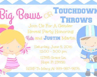 Cheerleader Football Player Gender Reveal Sports Invitation Download -Big Bows or Touchdown Throws