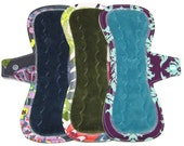 "10"" OBV Reusable Cloth Menstrual Pads / Mama Cloth Pads / Incontinence Pads - Set of 3 - Customize Your Flow Level, Fabrics and Backing"