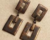 over sized vintage burnished metal crude primitive open work rectangle dangle pierced earrings