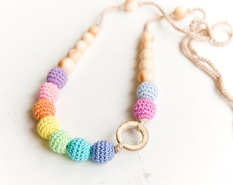 Coconut ring nursing necklace  - aqua rainbow Sling Accessory - breastfeeding necklace - Crochet Jewelry for New Moms