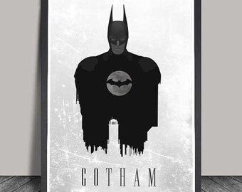 Gotham City Batman Print. Minimalist .Batman Superhero poster, Heroes Illustrations, Wall art, Artwork, DC comics poster, Gift,Gift for him