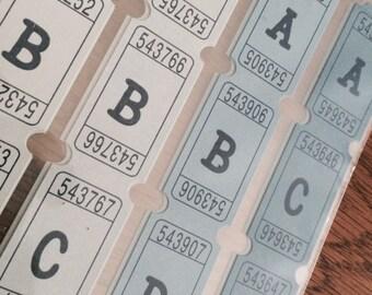 Ticket ABC Stickers, Gray and Blue Alphabet Stickers, EK Success Sticko Stickers
