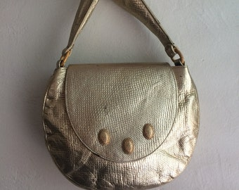 Vintage Gold Purse Slouchy Metallic Leather