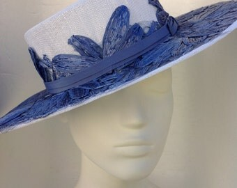 Sky blue and white Boater Hat