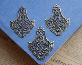 10 pcs Bronze Filigree Setting Chandelier Base Brooch Cab Setting Wrap Connector Pendant (BFC2796)