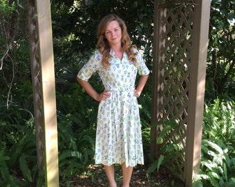 1950s Dress 50's Cotton Shirt Dress Floral Summer Day Dress Mid Century Retro