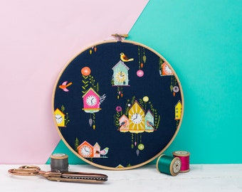Embroidery hoop art - Cuckoo clock print - Contemporary fabric art - Gallery wall art - Patterned fabric gifts - Textile gifts