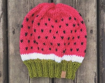 Watermelon hat - hand knit in bright pink, cream & green with black speckles