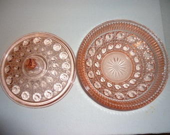 Federal Glass Pink Glass Covered Dish Windsor Pattern 1974 Vintage