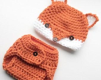 Friendly Fox Hat & Diaper Cover Set