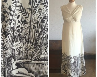 70's HAWAIIAN SUMMER DRESS - Tropical // Brown and Cream // Maxi // Boho // Elegant // One of a Kind