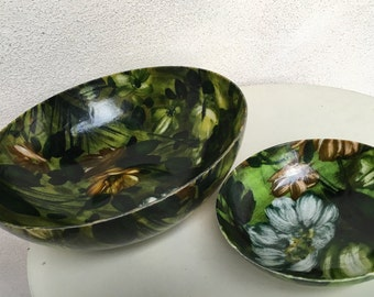 Vintage dark green floral fiberglass 2 bowls small large