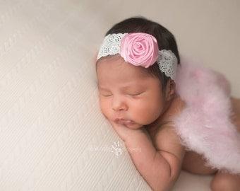 Angel Wings, baby pink wings, Feather Wings- Baby Pink Feather Wings with Pink satin rosette Lace headband Wing Set