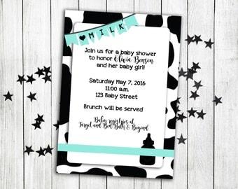 Milk baby shower invitation, baby shower, cow baby shower, milkaholic