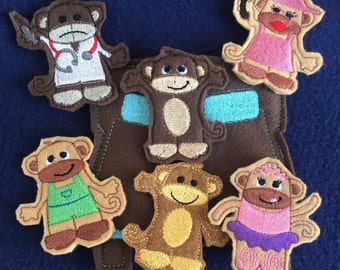 5 little monkeys Finger Puppet Set, 5 Little Monkey Busy Bag Set