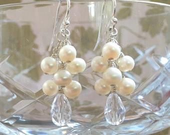 Pearl earrings, pearl and crystal cluster earrings, sterling silver cluster dangly earrings