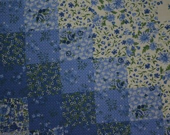 "Cotton Floral Fabric, Cotton Quilting Fabric, Patchwork Fabric, Vintage Cotton Fabric, Blue Floral Fabric - 1 Yard Plus 8""- CFL1879"