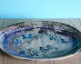 High Fire Stoneware Ceramic Bird Platter