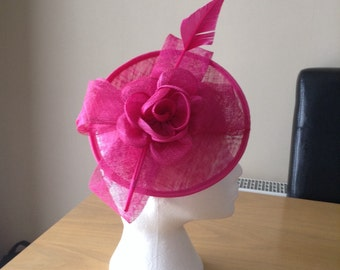 Fuschia Hot Pink Sinamay and Feather Disc Fascinator on a clip races, weddings, Kentucky Derby, Royal Ascot, Melbourne Cup