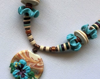 Necklace handmade,  lampwork glass necklace, turquoise and cream necklace, holiday necklace UK seller