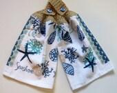 Seashore Seashells Crochet Top Kitchen Hand Towel Set of 2