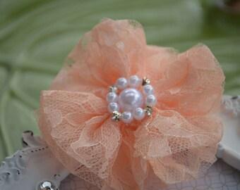 "Peach Lace Flower, Fabric Flower, Lace Flower, 3"" Lace Fabric Flower,  Lace Beaded Flower, 3"" Pearl Center Flower"
