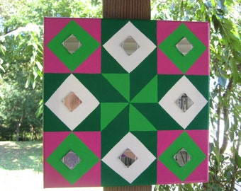 Hot Pink & Lime Green Quilt Barn Square With Mirrors, American Quilt Decor