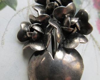 Vintage Raffael Sterling Pin, Silver Flowers Pin, Flower Bouquet Jewelry, Estate Jewelry, Designer Signed Brooch, Gifts Girlfriend, Blooming