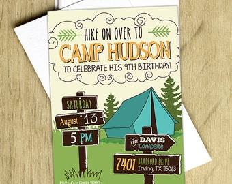 Camping Birthday Invitation, Camping Birthday Party Invite, Boys, Printable