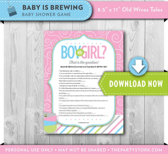tea old wives tales baby shower game printable coed trivia game boy