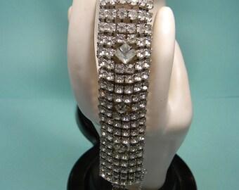 Clear Rhinestone Bracelet, Bold Vintage Classic, Elegant Statement